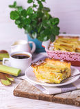 Traditional rhubarb pie with espresso coffee for breakfast. Royalty Free Stock Photos