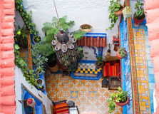 Traditional riad interior in Chefchaouen medina, Morocco Royalty Free Stock Image
