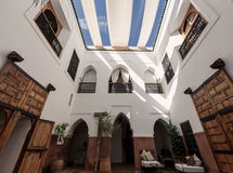 Traditional riad interior in Marrakech medina Royalty Free Stock Photography