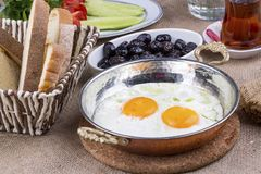 Traditional Rich and delicious Turkish breakfast stock images
