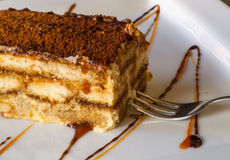 Traditional rich tiramisu cake with cinnamon, cara. A huge chunk of the traditional  Italian, unforgettably delicious, rich and sweet tiramisu cake with cinnamon Stock Image