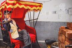 Traditional rickshaw in old Hutongs, Beijing, China stock photos