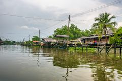 Traditional riverside thai village of Nonthaburi in Thailand. Seen from the Bang Kruai canal Royalty Free Stock Photo