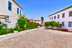 Traditional road and architecture at Hydra Greece Stock Images