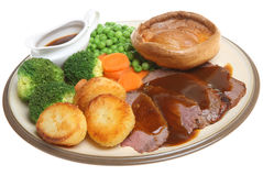 Traditional Roast Beef Dinner Royalty Free Stock Image