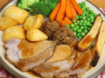 Traditional Roast Pork Sunday Dinner Royalty Free Stock Images