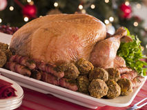 Traditional Roast Turkey with Trimmings Royalty Free Stock Images