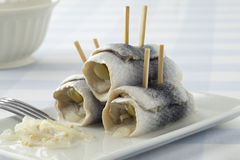 Traditional rollmops on a dish Royalty Free Stock Images