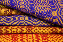 Traditional Romanian blankets. Romanian wool blankets with traditional pattern. Made with the hand loom Stock Photo
