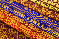 Traditional Romanian blankets. Romanian wool blankets with traditional pattern. Made with the hand loom Stock Image