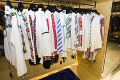 Traditional Romanian blouses called ie. Traditional Romanian blouses, called ie, exposed in a fashion shop in Bucharest royalty free stock photo