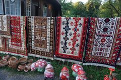 Traditional Romanian carpets royalty free stock photo