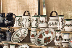 Traditional Romanian ceramic pottery. Displayed at a fair Royalty Free Stock Photography