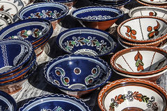 Traditional Romanian Ceramics 2. Romanian traditional pottery on display for sale Royalty Free Stock Photography