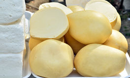 Traditional Romanian cheese. On a market Stock Images