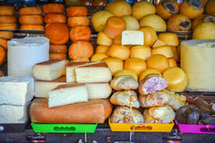 Traditional Romanian cheese varieties and meat in the market Royalty Free Stock Images