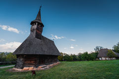 Traditional Romanian Church made by wood. In Romania, traditional architecture is still made by the villagers from the Maramures historical region Stock Photography