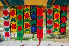 Traditional Romanian clothe accessories, colorful pattern Royalty Free Stock Photography