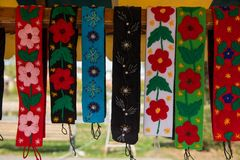 Traditional Romanian clothe accessories, colorful pattern Stock Images