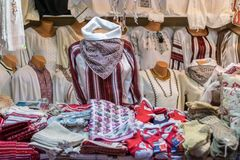 Traditional Romanian clothing being sold at the Sibiu Christmas. Market in Romania, 2017 Royalty Free Stock Photography