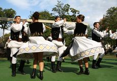 Traditional Romanian dance. Photograph taken at a representation of geographical and historical customs in Romania Stock Photos
