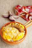 Traditional Romanian dish with corn mush and chees Stock Photos