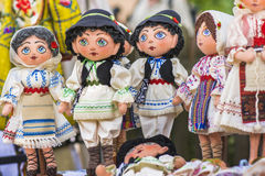 Traditional Romanian dolls. Dressed in the national costume Royalty Free Stock Photo