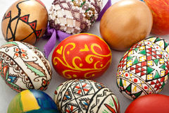 Traditional romanian easter eggs. Decorated in the north western parth of Transylvania with charpathyan and hungaryan accents Stock Photo