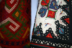 Traditional Romanian folk costume.Detail 1 Stock Photos