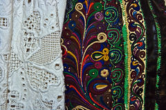 Traditional Romanian folk costume.Detail 15. Old traditional Romanian folk costume. Specific Banat, Romania Royalty Free Stock Photos