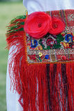 Traditional Romanian folk costume for women. Detail Stock Photo