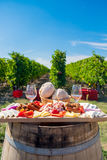Traditional Romanian food plate with wine and vineyards Stock Photos