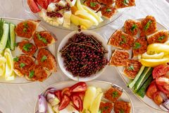 Traditional Romanian Food platter brunch with vegetables and che. Ese stock photos