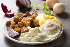 Traditional Romanian food Tochitura Moldoveneasca. Traditional Romanian food `Tochitura Moldoveneasca` made with pork meat, egg and cheese with polenta on plate stock image