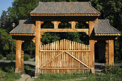 Traditional Romanian gateway. A traditional Romanian portico, carved in wood by a skilled craftsman stock photography