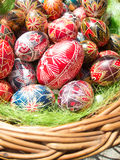 Traditional romanian handcrafted nicely decorated easter eggs Royalty Free Stock Photo
