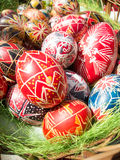 Traditional romanian handcrafted nicely decorated easter eggs Royalty Free Stock Images