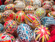 Traditional romanian handcrafted nicely decorated easter eggs Stock Photo