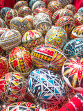 Traditional romanian handcrafted nicely decorated easter eggs Royalty Free Stock Photography