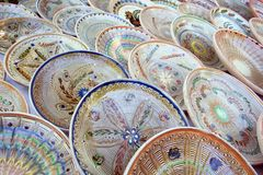 Traditional romanian handcrafted pottery plates Stock Photography