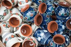 Traditional romanian handcrafted pottery Stock Photo