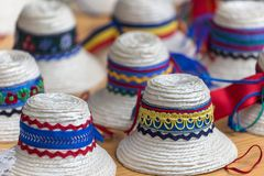 Traditional romanian hats for men from Maramures area. Royalty Free Stock Image