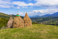 Traditional Romanian haystacks Stock Photos