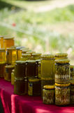 Traditional Romanian honey jars royalty free stock image