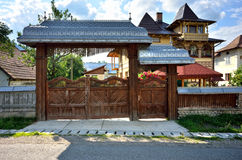 Traditional Romanian house gate Stock Photos