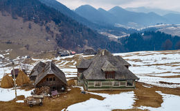 Traditional Romanian house on mountains Stock Photography