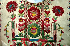 Traditional Romanian Hungarian costume detail with flower motif. Ghimes region, Romania royalty free stock photos