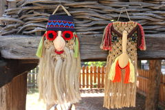 Traditional romanian masks. Traditional romanian carnival masks for winter holidays Stock Photo