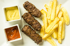 Traditional Romanian Mici Plate Close Up Royalty Free Stock Photos