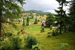 Traditional romanian  mountain village Royalty Free Stock Images